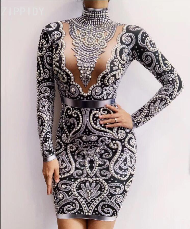 Black Gray Rhinestones Pearls Long Sleeves Dress Sexy Spandex Women Singer Outfit Birthday Celebrate Evening Dress