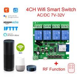 Умное Реле переключения Wi-Fi Tuya, беспроводной модуль переключения с Wi-Fi, 1-канальный, 2-канальный, 4-канальный, с радиоприемником переменного то...