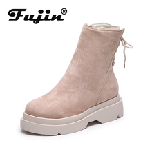 Fujin Women Short Ankle Boots Thick Bottom Flock Leather Platform Wedges Boots Fashion Ladies Height Increasing Shoes Autumn