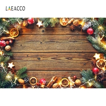 Laeacco Wooden Board Pine Branch Stars Baby Christmas Photography Backgrounds Customized Photographic Backdrops For Photo Studio