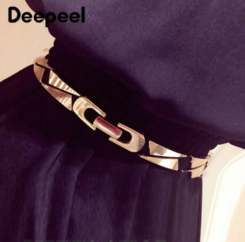 Deepeel 1pc 1.2X68cm/1.5X65cm/1.7X68cm Metal Elastic Band Cummerbunds Women Elastic Belt  Fashion Polyester Elastic Cummerbunds