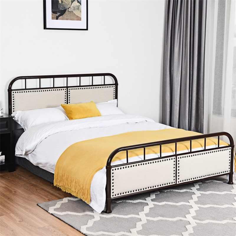 Queen Size Metal Bed Frames Platform Bed Upholstered Panel