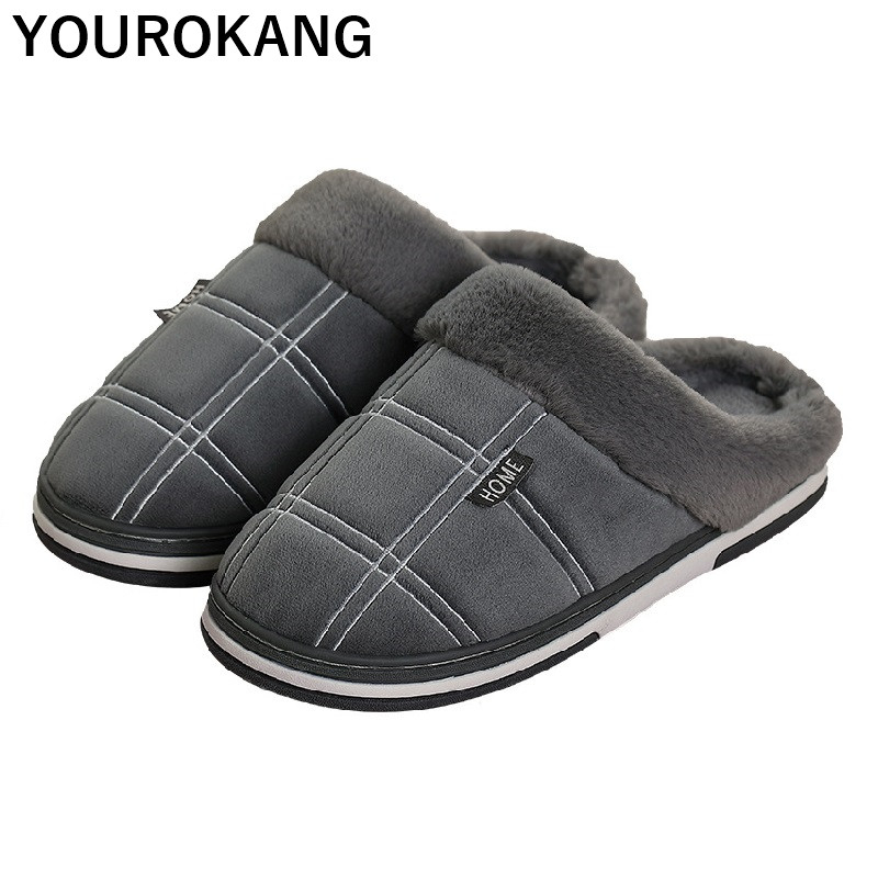 Winter Plush Men Shoes Warm Family Home Slippers Striped Indoor Floor Furry Cotton Couple House Slippers Soft Unisex Plus Size