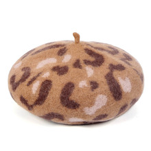 Wool Beret Autumn and Winter French Hat Baret Girl Leopard Berets Knitted Women