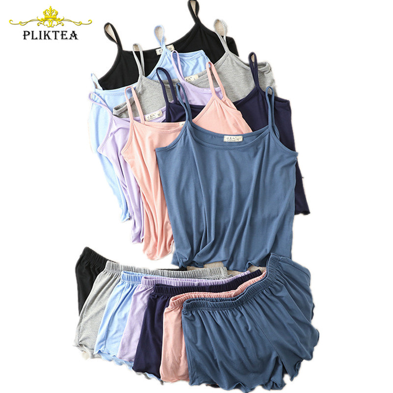 Summer Camisole Shorts Pajamas for Women Plus Size Summer Homewear Loose Soft Modal Pajamas Home Clothes 2 Piece Set Sleepwear