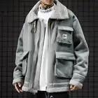 Faux cuir daim veste manteau hommes pleine fermeture éclair hiver chaud laine d'agneau col montant vêtement de motard grande taille Bomber vestes - 2