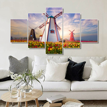 Laeacco 5 Panel Canvas Painting Calligraphy Windmill Garden Posters and Prints Wall Artwork for Living Room Home Decor