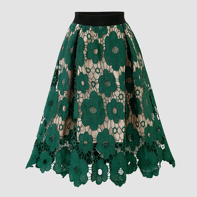 Women's Lace Flowers Skirt Europe And America New Retro A-line Long Skirt Elegant Elastic Waist Lace Hollow Skirts Falda ML368