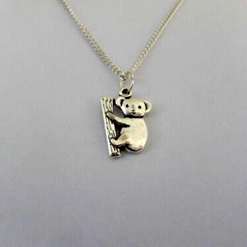 Silver Color <font><b>Koala</b></font> <font><b>Bear</b></font> <font><b>Necklace</b></font> Pendant Women Gift Chain <font><b>Necklaces</b></font> Retro Animal Charms Collar Choker Jewelry Fashion Accessorie image