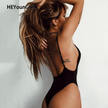 HEYounGIRL Summer Backless Sexy Bodysuit Basic Sleeveless Black Body Women Top Spaghetti Strap Short Jumpsuit Ladies Beach Party - discount item  40% OFF Jumpsuits, Rompers/Playsuits & Bodysuits