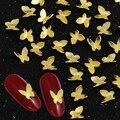 10 шт./лот дизайн ногтей 3D металлическая Блестящая бабочка украшение золотой сплав ювелирные изделия УФ-гель накладные ногти для женщин