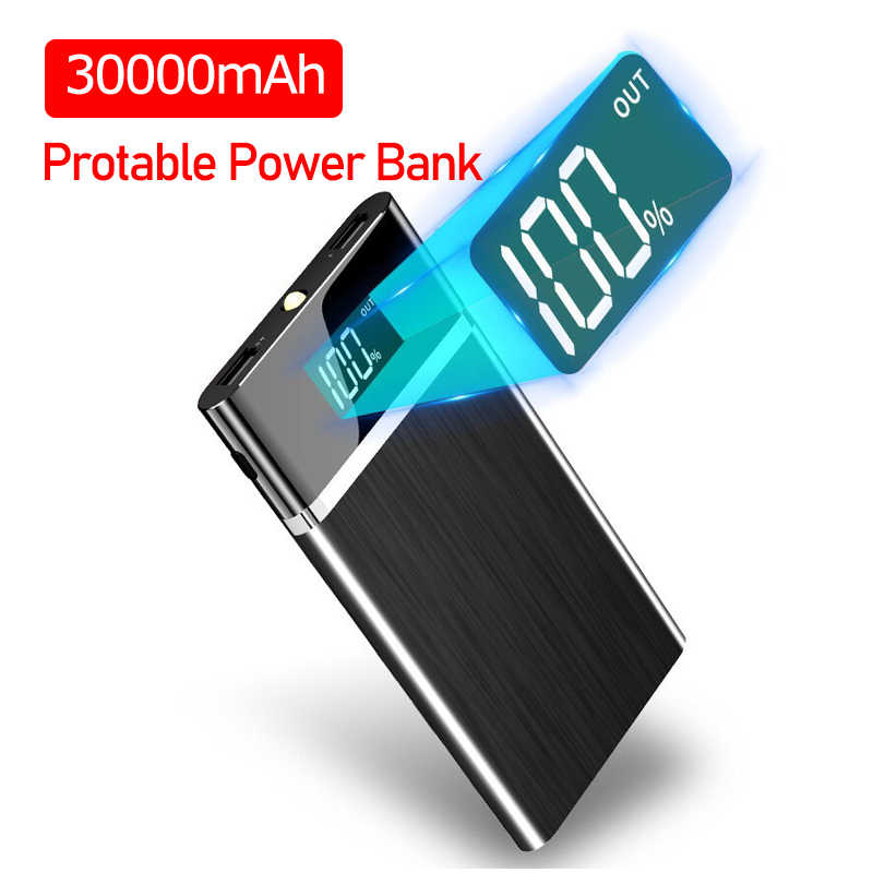 Power Bank 30000 MAh Portable Pengisian Powerbank Double USB Poverbank Baterai Eksternal Charger untuk Iphone Samsung