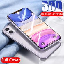 Vidrio protector de borde curvado 30D para iPhone 11 Pro Max 7 8 6 Plus vidrio templado para 11 Pro X XR XS protector de pantalla máx.