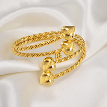 Bangle Bracelet Jewelry Ethiopian Heart-Dubai African Arab-Accessories Gold-Color Women