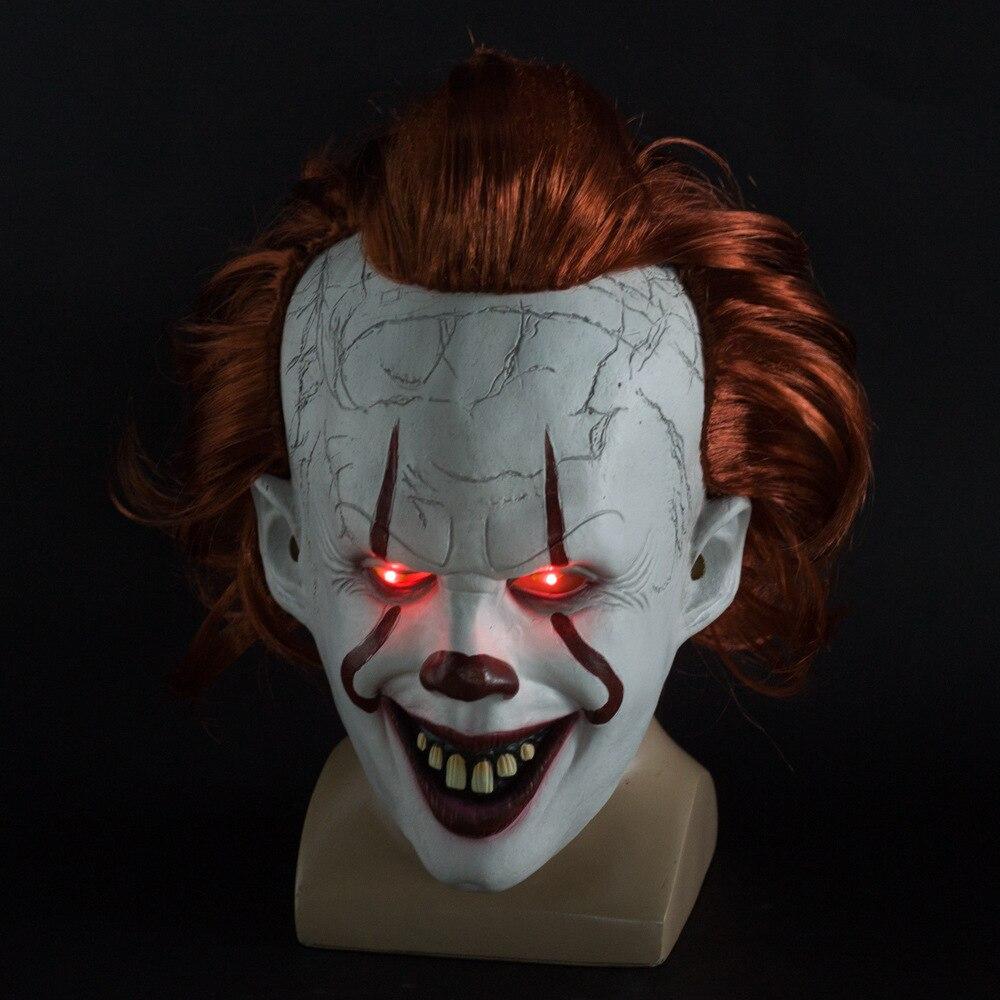 Джокер Pennywise светодиодная маска Хэллоуин маска для вечеринки Костюм Опора Маска ужаса латексная страшная для вечеринки реквизит маска на Хэллоуин-in Маски для вечеринки from Дом и животные