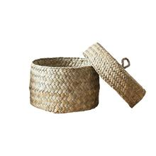 цены на Seaweed Snack Storage Box Handmade Finishing Box With Lid Woven Storage Basket Wardrobe Desktop Storage Basket Round Gift Box  в интернет-магазинах
