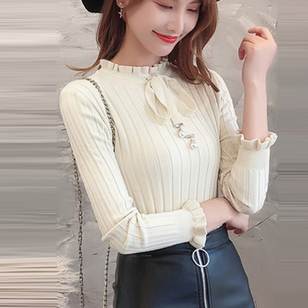 Women Top knitting Long Sleeve Sweater Bandage Elegant Sueter Mujer Invierno 2020 Sweater Women Pull Femme Pullover Jumper