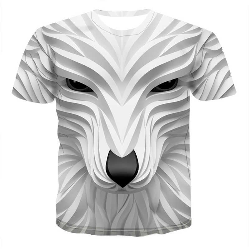2020 Nieuwe 3D Wolf Head Cool Mannen T-shirt Grappig Dier Mode Unisex Casual T-shirt Zomer Straat Sneldrogende fashion T-shirt