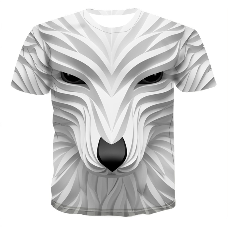 2020 New 3D Wolf Head Cool Men's T-Shirt Funny Animal Fashion Unisex Casual T-shirt Summer Street Quick-drying Fashion T-shirt