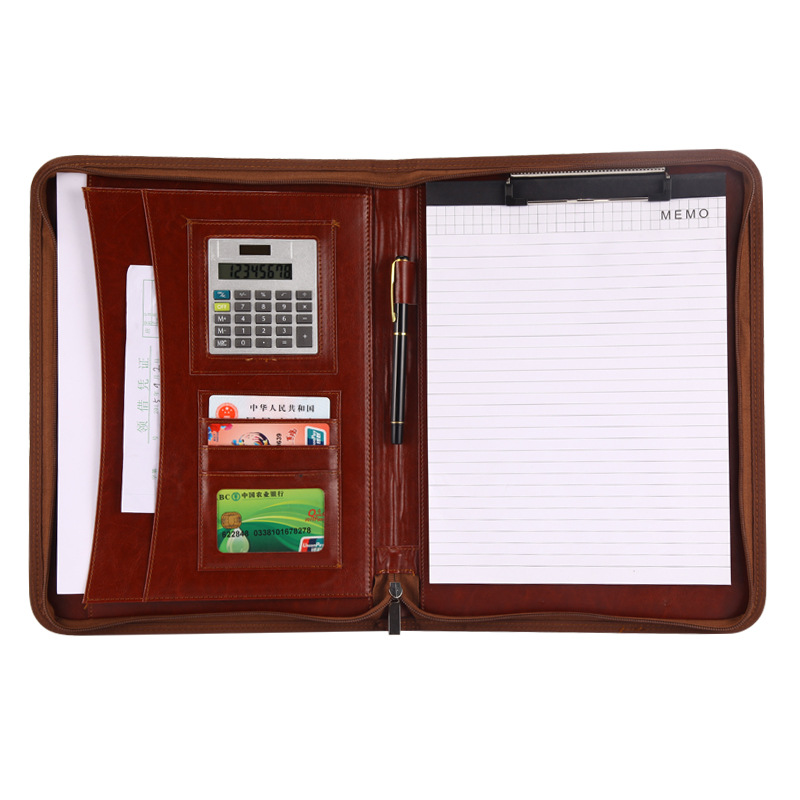 A4 Multifunctional Zipper File Holder PU Leather Portable Manager Folder Organizer Manager Clip Writing Pads Office Supplies
