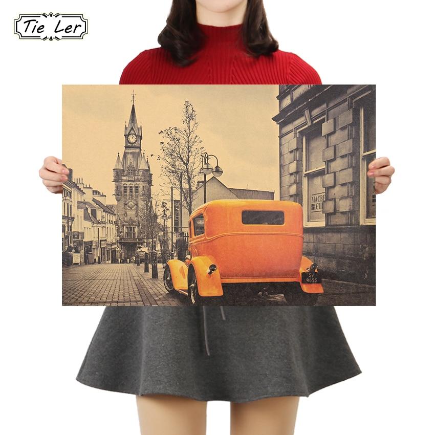 TIE LER Yellow Vintage Car London Street Vintage Poster Bar Kids Room Home Decor Kraft Paper Painting Wall Stickers 51.5X36cm