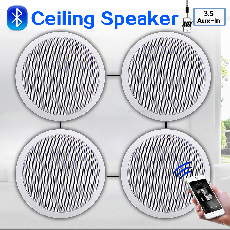 4PCS Power Output Wall Mounted In-Ceiling Speakers Digital Smart Home Audio Loundspeaker Stereo Music Player Active Ceiling SPK 1
