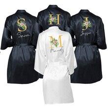 งานแต่งงาน Dressing Gown ส่วนบุคคลชื่อเจ้าสาวเจ้าสาวซาติน CUSTOM Robes สำหรับของขวัญ Mother of Bride/เจ้าบ่าว SQUAD นอน