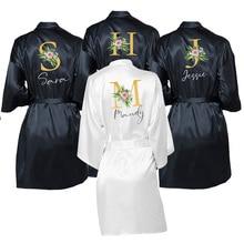 Robe de robe de mariage en Satin, noms personnalisés pour les épouses et demoiselles dhonneur, vêtements de nuit pour cadeaux pour mère de la mariée/marié