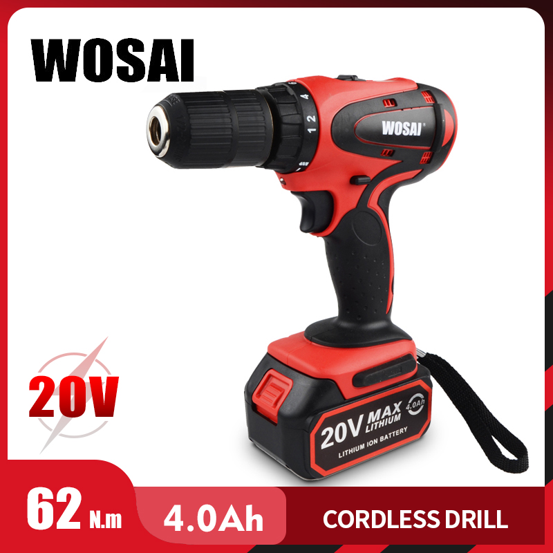 WOSAI 20V Cordless Electric Hand Drill Lithium Battery Electric Drill Cordless 2-Speed Drill Electric Screwdriver Power Tools