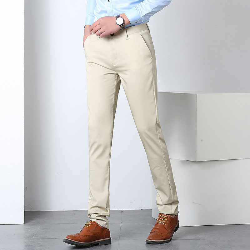 2019 Summer New Style A Flower Master Slim Fit Thin Solid Color Versatile Stretch Trousers MEN'S Casual Pants