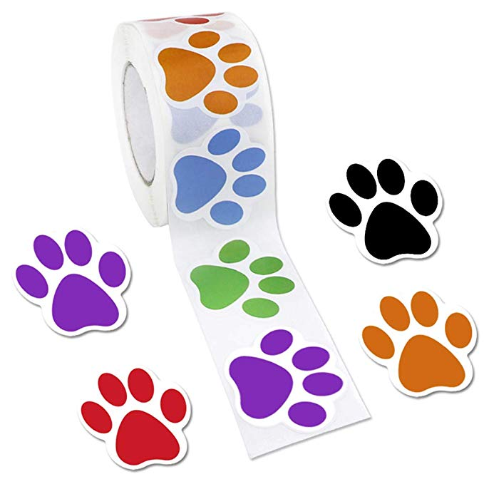 500pcs Colorful Paw Print Stickers,Dog Cat Bear Paw Labels Stickers Of 6 Colors,as Reward Sticker Stationery Teacher For Kids