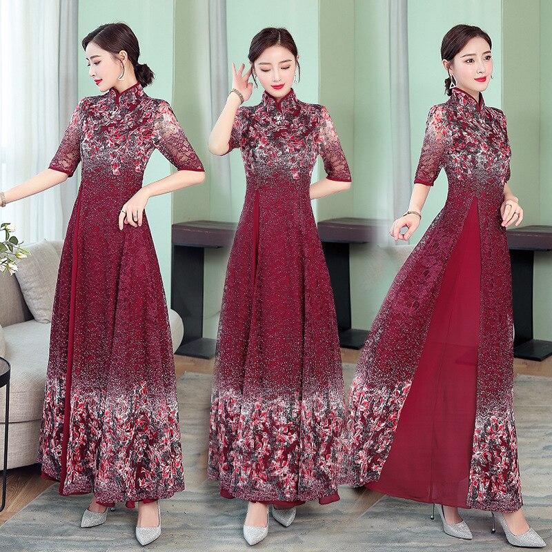 Ha1985 @ 2019 Retro Chiffon Lace Dress Women's Improved Cheongsam Grandma Wedding Banquet Will Formal Dress Middle-aged Women Dr