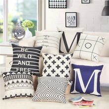 45x45cm Black White Geometric Printed Sofa Chair Seat Cushion Cover Cotton Linen Living Room Bedroom Pillow Case 2019 newest plaid pillow case 45 45cm cotton and linen pillow cover elastic cushion cover for living room bedroom office decor