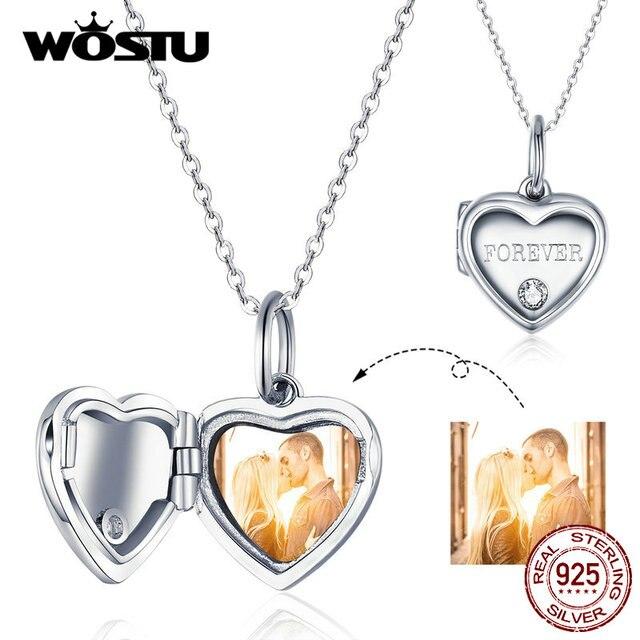 WOSTU 100% 925 srebro spersonalizowane zdjęcie serce Charm Fit oryginalna bransoletka naszyjnik DIY tworzenia biżuterii CTC102
