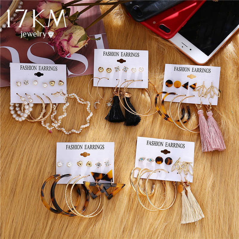 17KM Oversize Heart Hoop Earrings Set Pearl Crystal Earrings For Women Gold Big Circle Earring Set Amazing Price Fashion Jewelry