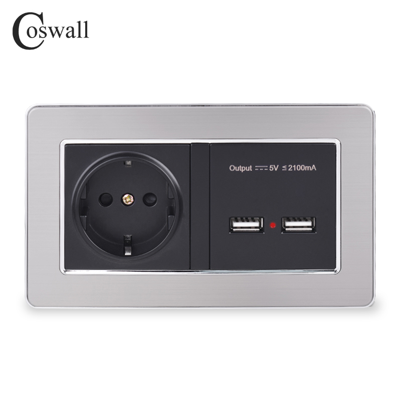 COSWALL Wall Socket EU Standard Power Outlet With Dual USB Smart Induction Charge Port For Mobile 5V 2.1A Stainless Steel Panel