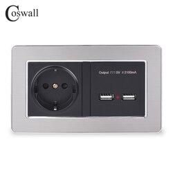 Coswall tomada de parede tomada de energia padrão da ue com dupla usb inteligente porta carga indução para móvel 5 v 2.1a painel aço inoxidável