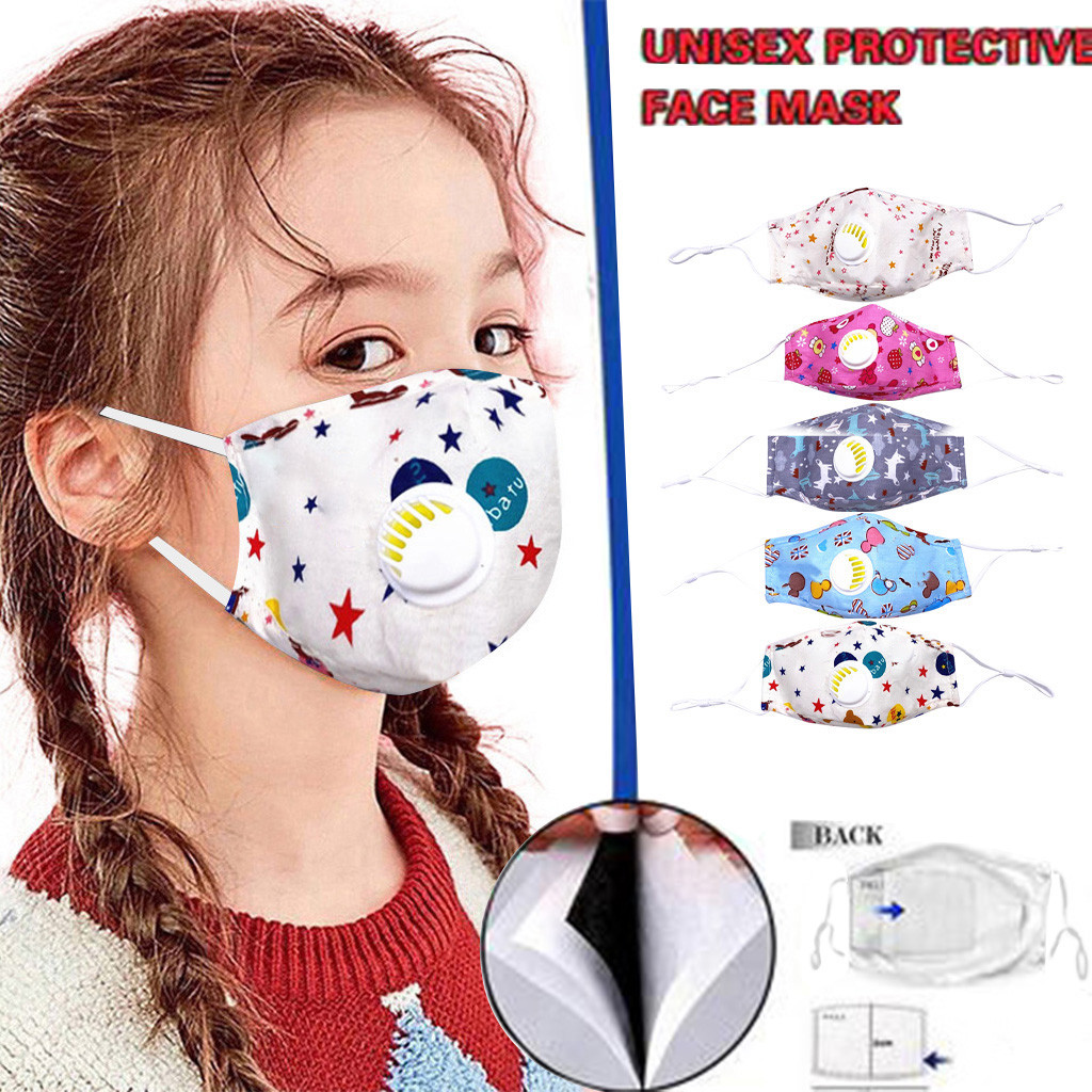 Mascarilla reutilizable con válvula de respiración para niño, máscara moderna de dibujos animados para chico s 2020, Pm2.5, lavable