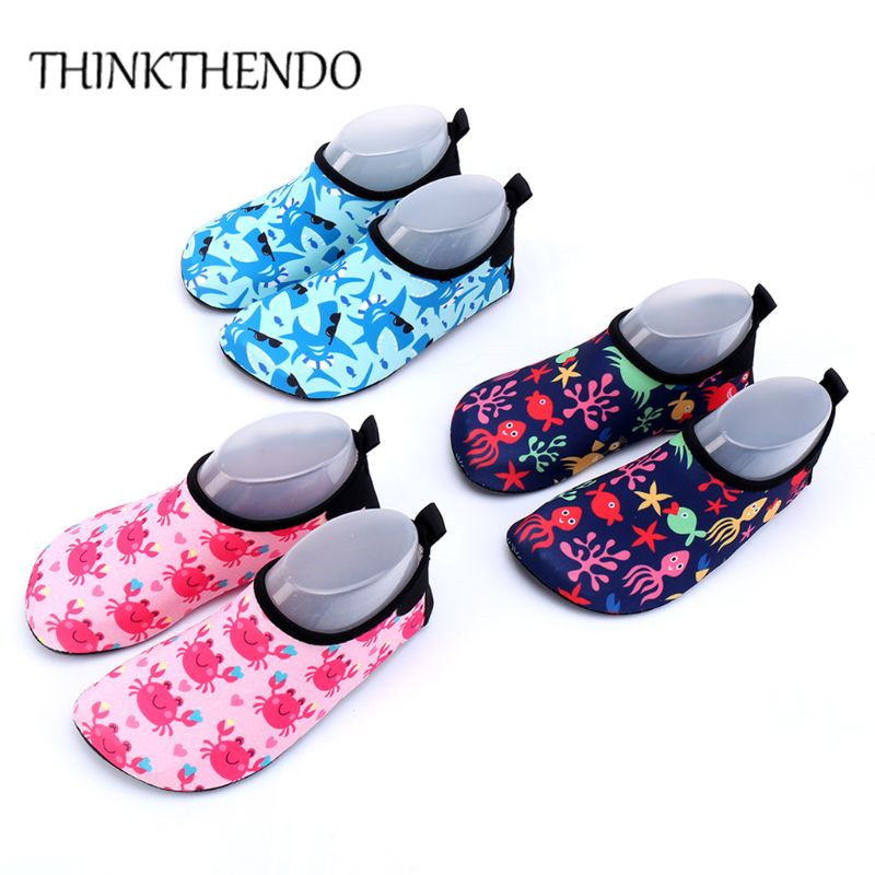 Toddler Kids Swim Water Shoes Baby Child Quick-Dry Non-Slip Cute Cartoon Crab Shark Printed Barefoot Aqua Socks For Beach Pool