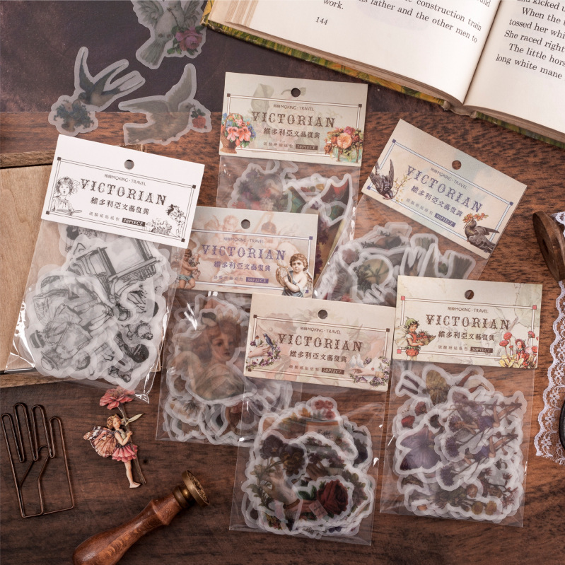 50 Pcs/bag Retro Victorian Renaissance Series Decorative Kawaii Stickers Scrapbooking Stick Label Diary Stationery Album