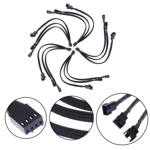 4 Pin kabel przedłużający płyta główna Office 1 do 3 sposoby Splitter z długimi rękawami złącze procesora wentylator pwm praktyczne akcesoria konserwy miedzi
