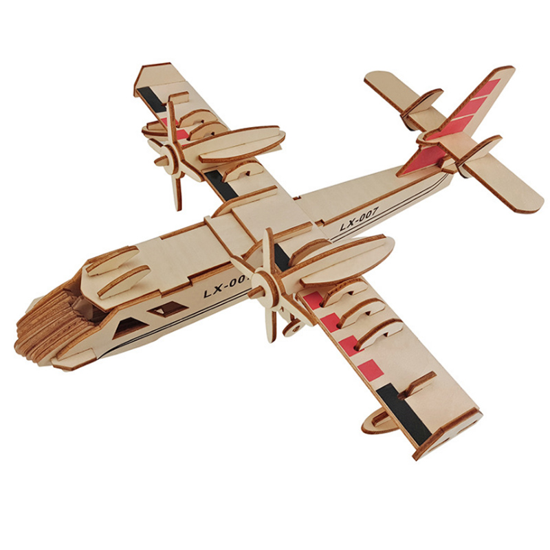 3D Wooden Airplane Puzzle Amphibious Bomber Building Blocks DIY Educational Toy Children Christmas Birthday Gifts Puzzles