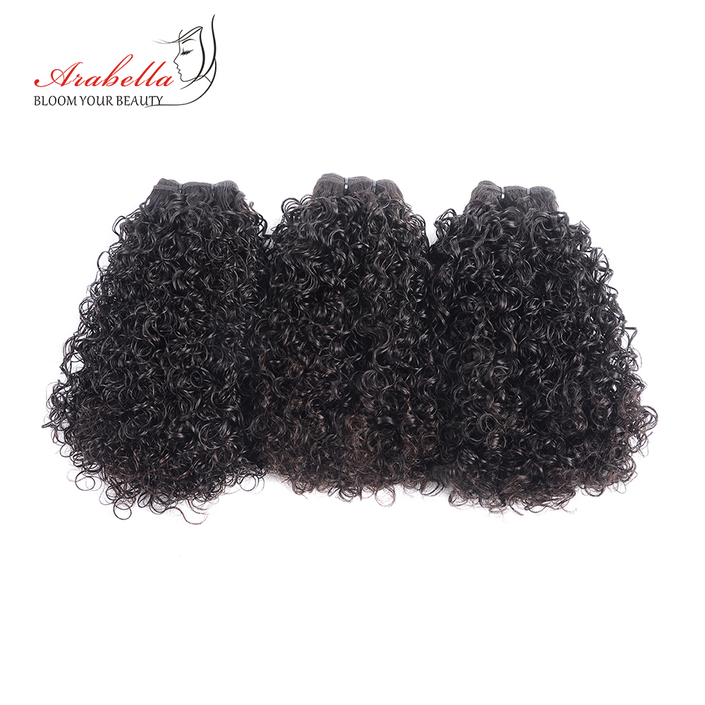 Curly Hair Weave Bundles 3 Pieces 100% Human Hair Extension Natural Color Arabella Remy Hair Bundles