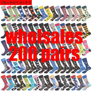 Downstairs Colored-Patterns Happy-Socks Wholesales Men Mix 200-Pairs/Lot Customized-Design