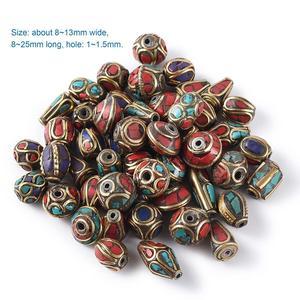 Image 1 - 50 stücke Retro Gebet Nepal Perlen Handgemachte Rote Koralle Tibetischen Lose Perlen Charms Für DIY Schmuck Machen Halsketten Armbänder