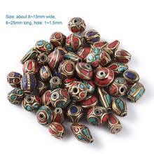 Perles de prière rétro du népal, breloques en corail rouge tibétain, faites à la main, pour colliers et Bracelets, fabrication 50pcs, bijoux à bricoler soi même