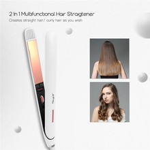Pince à friser les cheveux à chauffage rapide, plaque large, fer plat à lisser, double tension, coiffage des cheveux, moins de dommages