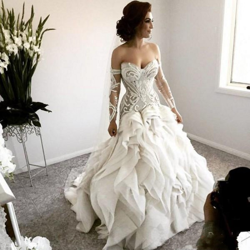 Arabic Bridal Dresses Gowns Full Sleeve Wedding Gowns Robe De Mariee Wedding Dress Ruffle Gelinlik Vestido De Noiva 2020