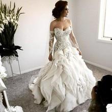 Arabic Bridal Dresses Gowns Full Sleeve Wedding Gowns robe de mariee Wedding