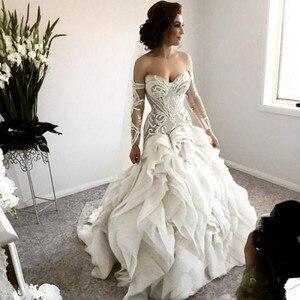 Image 1 - Arapça gelin elbiseleri önlük tam kollu gelinlikler robe de mariee düğün elbisesi fırfır gelinlik vestido de noiva 2020